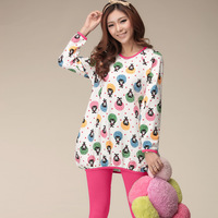 Autumn sleep set of girls long-sleeve 100% cotton sleepwear cartoon loose casual lounge