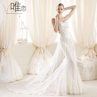 Bridal tube top slim fish tail wedding dress formal dress slim waist long train design 2014 new arrival white