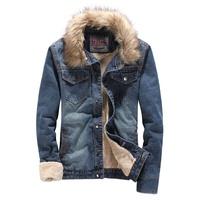 Men's winter thickening plus velvet denim outerwear male slim fur collar high quality down jacket plus size warm denim coat