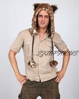 Hat fashionable casual plush animal cap cartoon leopard print hat