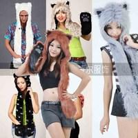 Faux leather wool fashion animal cap hat scarf gloves one piece white - polar bear