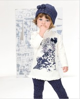 Retail 2014 new Girls 2pcs autumn suit sets Children's clothing sets baby leopard print top long sleeve t shirts+ pants
