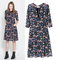 2014 new fashion women's chiffon dress slim printing dress round neck half sleeve brand dresses