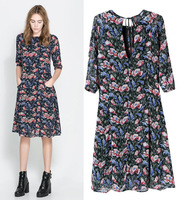 2014 new fashion women's chiffon dress slim printing dress round neck half sleeve brand skirt