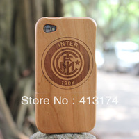 Hot Sale 1 Pieces Natural Inter milan wood case cover (cherry wood) + 1piece film screen protector =2pieces/lot for iphone4/4S