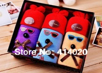 Free Shipping!  Gift  Box Package Cake Towel.100% Cotton Gift  Set, Cool Eyeglass Cap Weared Cute Dog Towel Gift. Weeding Gift.
