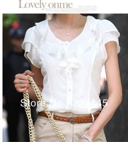 New fashion women Flounced sleeves Loose Big size chiffon casual Blouses O-neck, Pullover summer shirts