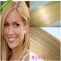 Free shipping  14-26inch 7Colors 7pcs Clip In Remy Real Human Hair Extension Full Head Straight #18/613