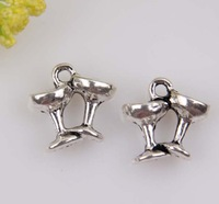 MIC  100pcs Antiqued Silver  Zinc Alloy Champagne Wine Glasses  Charms  Pendants 12x11.5mmA0010257