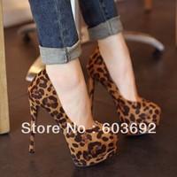 14cm super high heels waterproof shoes women's leopard heels women single shoes