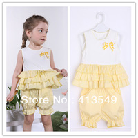 Retail 1 set  summer fashion children clothing girls bow sets girls T-shirts+pants =suits baby  clothes