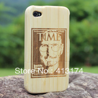 Hot Sale 1 Pieces Steve jobs bamboo wood case cover (light bamboo) + 1piece film screen protector =2pieces/lot for iphone4/4S