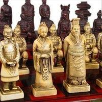 Wholesale cheap Chinese 32 pieces chess set/box/Xian Terracota Warrior / Free Shipping