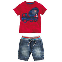 Retail 2014 new summer casual branded baby Boy's 2piece suits Children's clothing sets short-sleeve t-shirt + jeans pants short