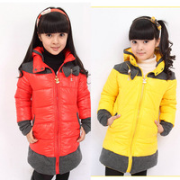 new 2013 children clothing girl winter coats and jackets for children winter design long cotton-padded jacket cotton-padded