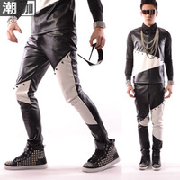 Fashion pants black-and-white PU patchwork rivet pants trousers casual pants men's clothing costume