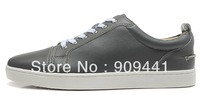 red bottoms for men shoes, Gray leather suede Casual shoes