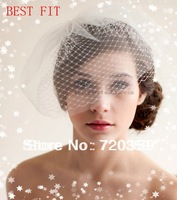 Free shipping!2014 Unique New Bridal Birdcage Veil, Party Headdress,white veil,simple and elegance ,Wedding Accessory
