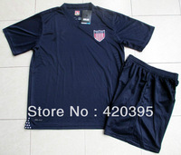 13/14 USA United States Away Navy Blue Adult Size Short Sleeve Soccer Jersey Kit Football Uniform Shirt & Shorts W/ Brand Logo