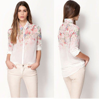 2013 NEW excellent quality, European style ALL-MATCH elegant fashion sweet printed ladies blouse, womens chiffon shirt