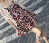 2013 summer bohemia plus size dot suspender skirt short skirt one-piece dress