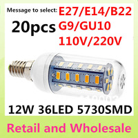 E14-5730SMD-36LED 20pcs/LOT+ Free Shipping+LED Corn Light Bulbs Lamps E27 B22 G9 GU10 12W Warm/Cool White Home Lighting