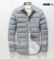 Free shipping Autumn And Winter Fashion Korean version of Simple Models Houndstooth Men Casual Padded Shirt Styles Warm Coat