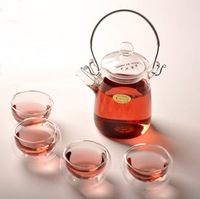 Glass Teapot 300ml + 4pcs 50ml Doule Glass Tea Cup High Temperature Resistance Glassware Coffee Tea Cup Free Shipping