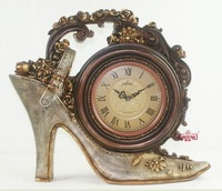 factory house wholesale Quieten Large classical fashion high-heeled shoes style desk clock clock 672m