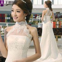 2015 halter-neck train sweet princess vintage sexy lace fish tail bridal dress lace wedding dress