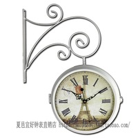 factory house wholesale Fashion double faced rustic wall clock modern black iron mute wall clock fashion clock