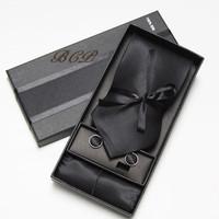 Better quality Fashion Men's Necktie Tie Set 100% solid Silk Business Ties Set 1 Tie+1 pair cuff-links+1 hankie+1 gift box