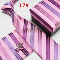 New model Fashion  Men's Necktie Set Business Necktie Neck Tie Set Striped  with Gift Box