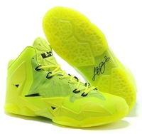 Free Shipping womens leBron 11 volt green black 2014 shoes brand name female P S elite X LBJ basketball Sportwear 36-40