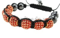Free shipping!!!Zinc Alloy Shamballa Bracelets,Celebrity, with Wax & Non-magnetic Hematite, with rhinestone, nickel