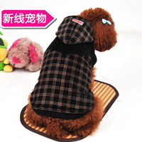Free shipping 38.6 dark color plaid super soft thickening high quality dog clothes autumn and winter pet clothes a04