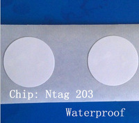 10pcs/lot  Waterproof nfc Ntag  203tag 13.56MHZ 144BYTE RFID for e-wallet for s4 Nexus4 Nexus10 Blackberry i9500