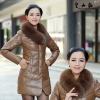 2013 genuine leather female medium-long down coat genuine leather clothing outerwear fox fur sheepskin