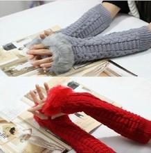 Autumn Winter Women Arm Warmers 2013 New Fashion Imitation Rabbit Fur Woolen Knitted Gloves Twist Wave Pattern XS297(China (Mainland))