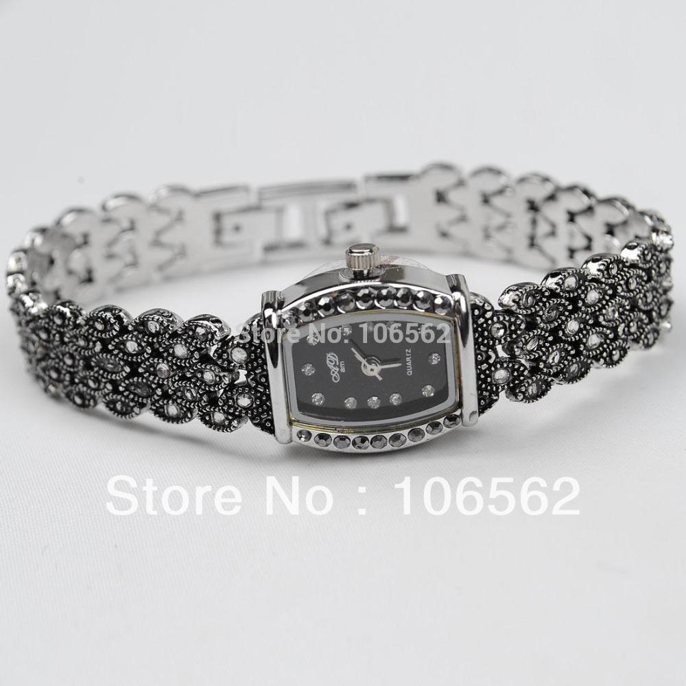 Retro Silver Black with Rhinestone Crystal watches Women Girls' Alloy Quartz Wrist Watch Fashion Brace Lace Gift Ladies Watch(China (Mainland))