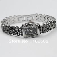 free shipping Retro Silver Black with Crystal Rhinestone Women Girls' Lady Alloy Quartz Wrist Watch Fashion Brace Lace Gift