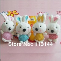 """Free shipping 50pcs/lot 12cm 4.7"""" Stuffed lovely rabbit cell phone pendant Four colors mixed Cute Rabbit cell phone pendant"""