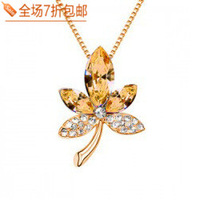 Female austrian crystal all-match zirconium diamond necklace sweater pendant fashion  Free shipping