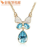 Female aesthetic elegant bow crystal drop zirconium diamond necklace sweater pendant  Free shipping