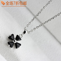 Female necklace short design chain black crystal platier small four leaf grass pendant  Free shipping