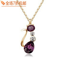 Female popular cat crystal necklace chain pendant  Free shipping