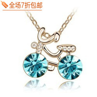 Female full rhinestone crystal bicycle memory short design necklace sweater pendant  Free shipping