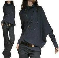 New Fashion Womens loose bat personalized shirt long sleeve sweater  coat  Irregular Winter Knitting Clothing