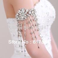 New Hot Rhinestone Crystal Flower Tassels Dance Arm Cover Armbands Bracelet Bangle Bridal Women Jewelry Free Shipping