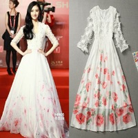 Fashion three-dimensional flowers full dress long design evening dress banquet evening dress 2013 one-piece dress plus size